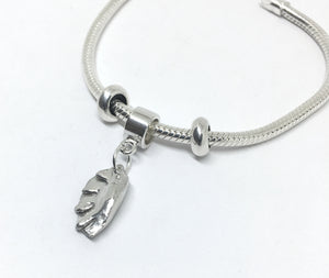 european style snake chain charm bracelet with dumpling charm in sterling