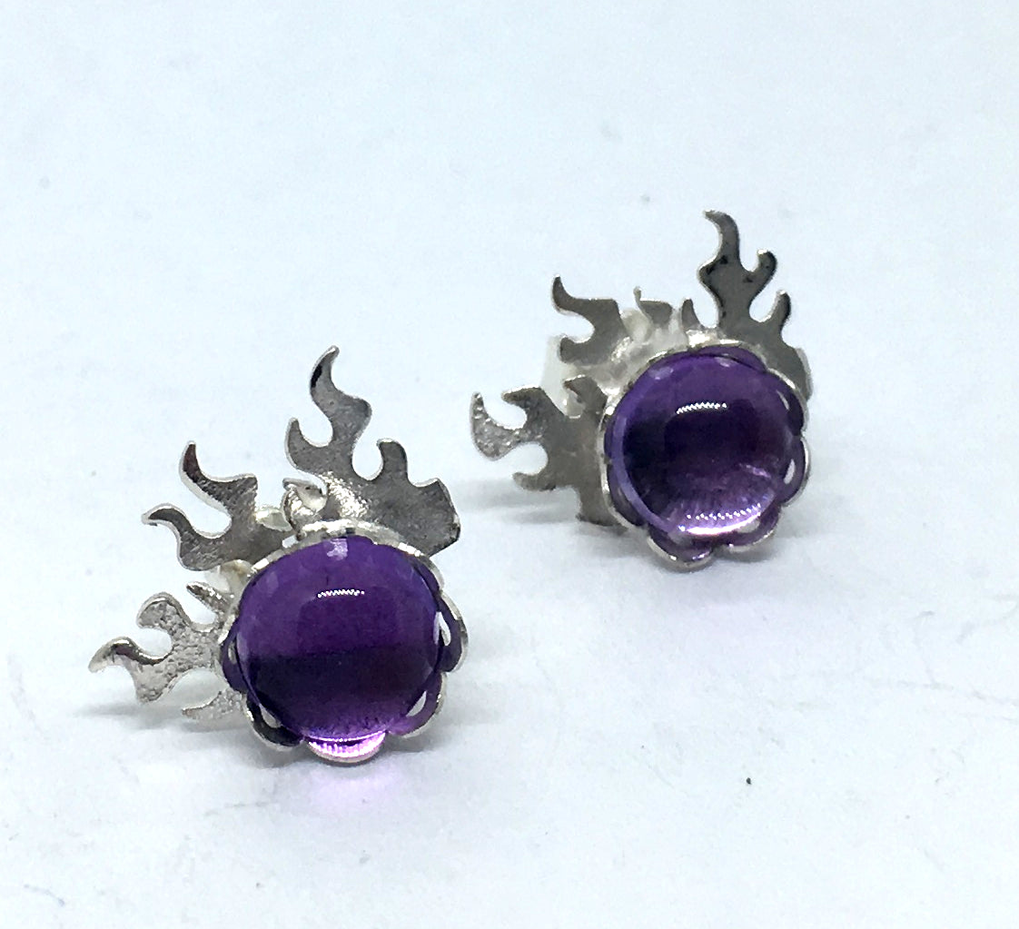 Fire Earrings with Amethyst in Sterling Silver