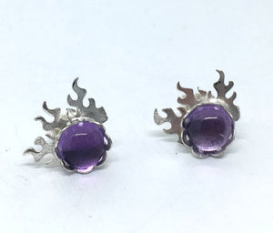 Fire Post Earrings with Amethyst in Sterling Silver