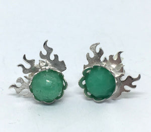 Fire Stud Earrings with Chrysoprase in Sterling Silver