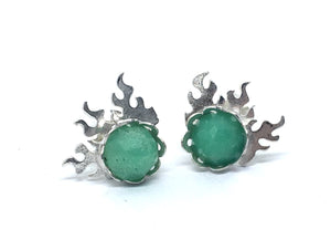fire earrings with chrysoprase gemstones in sterling silver