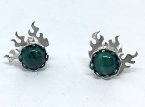 Fire Post Earrings with Malachite in Sterling Silver