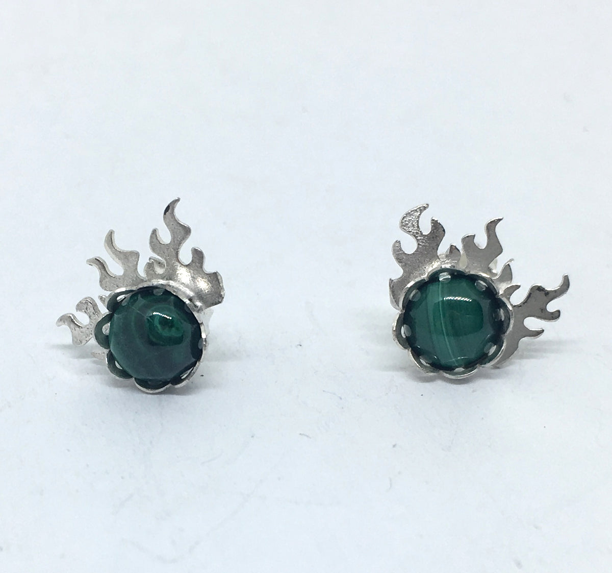fire earrings with malachite gemstones  in sterling silver