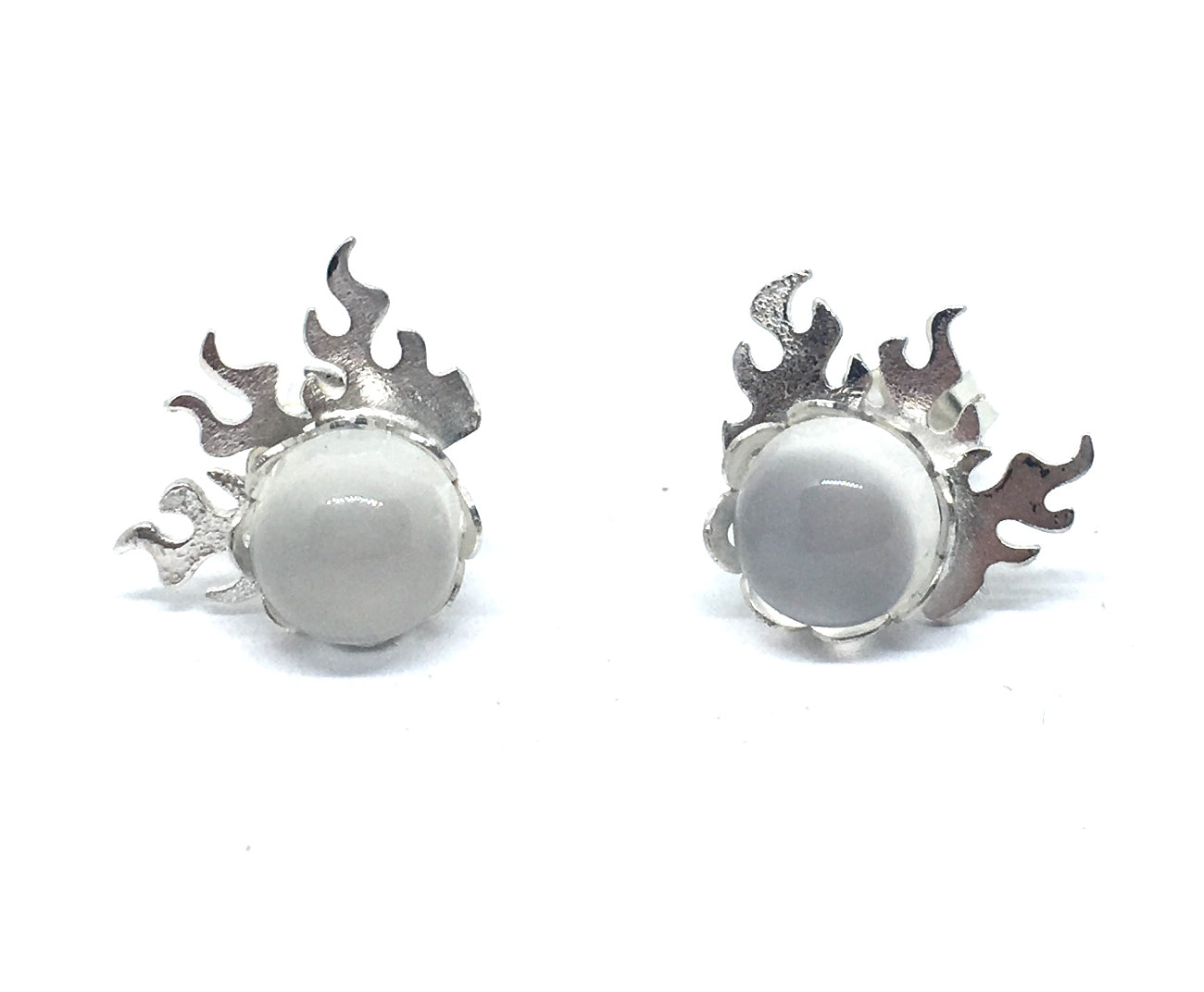 fire earrings with moonstones in sterling silver