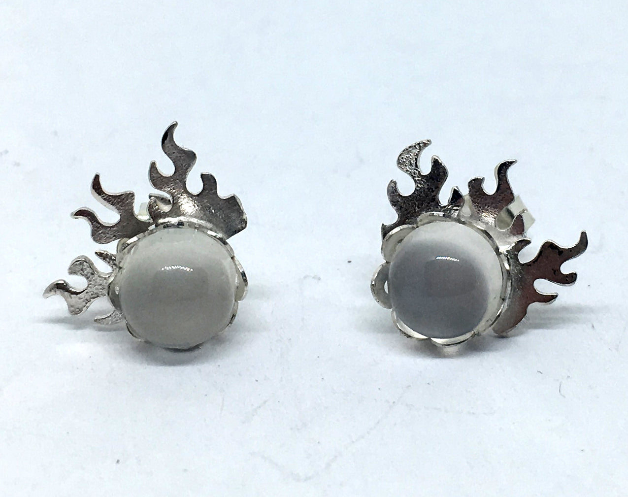Flame Stud Earrings with Moonstone in Sterling Silver