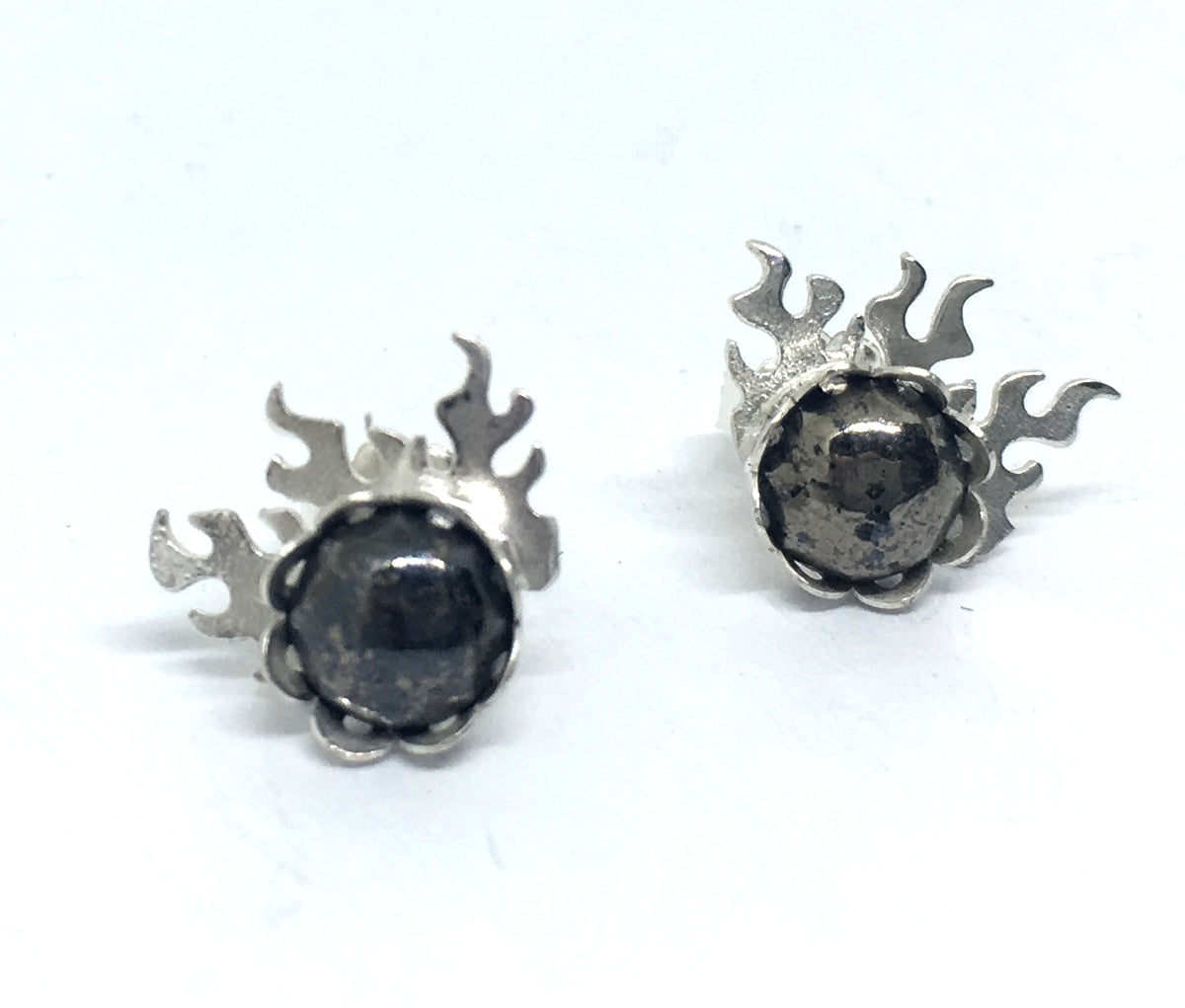 fire earrings with pyrite gemstones in sterling silver