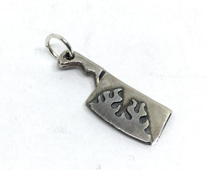 flaming cleaver charm in sterling silver