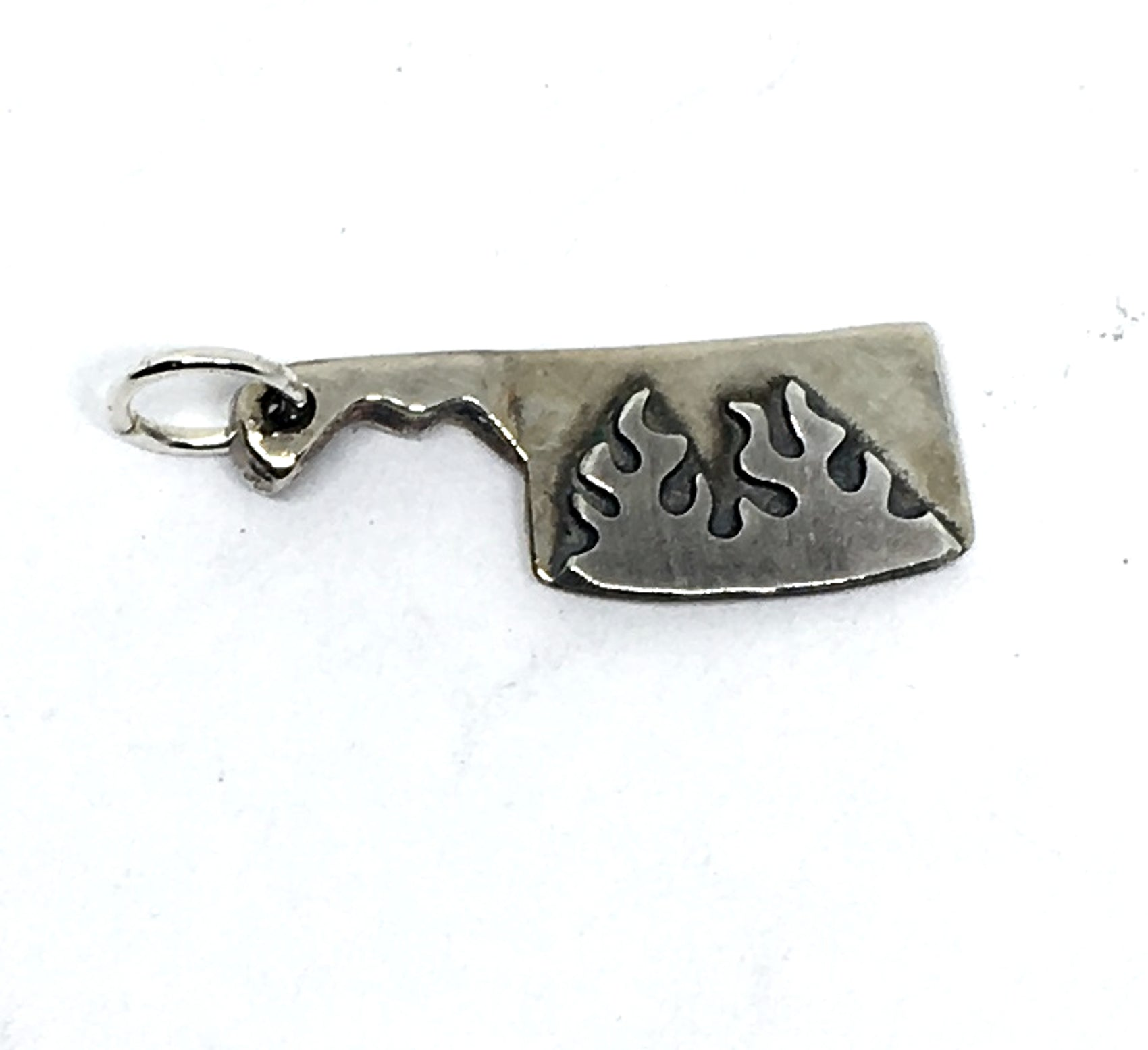 Flaming Chef Cleaver Charm in Sterling Silver