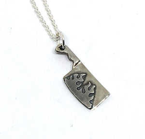 ChefJewelry Sterling Silver Cleaver Necklace with Flames
