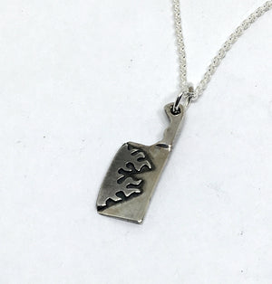 Flaming Cleaver Necklace in sterling silver