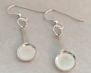 Chef Frying Pan Earrings in Sterling Silver