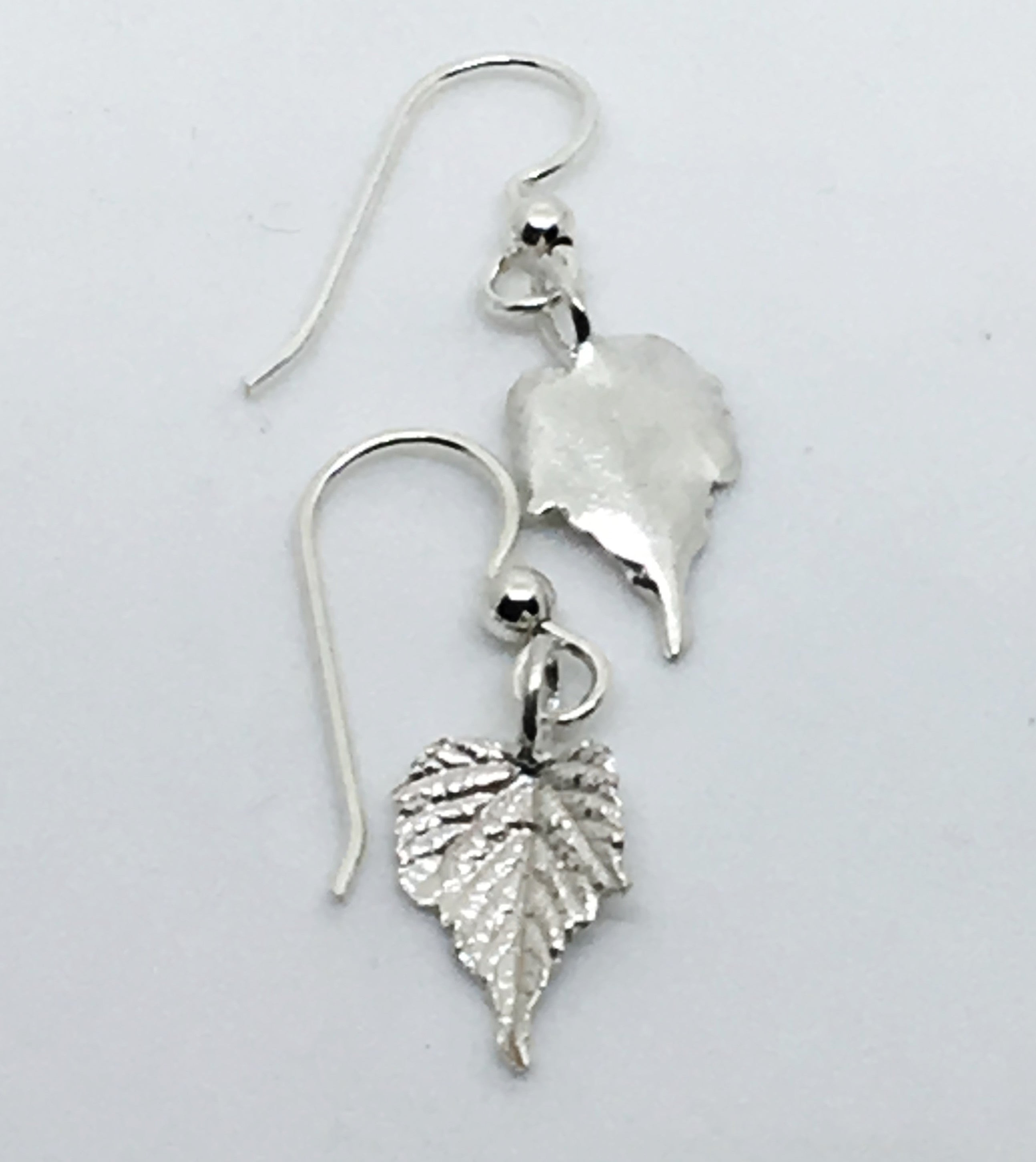 Sterling Silver Grape Leaf Earrings