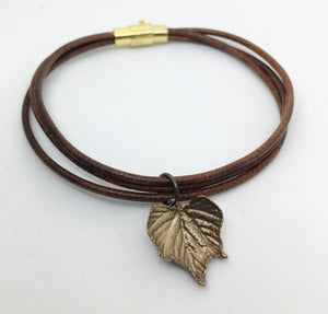Leather Bangle with Bronze grape leaf