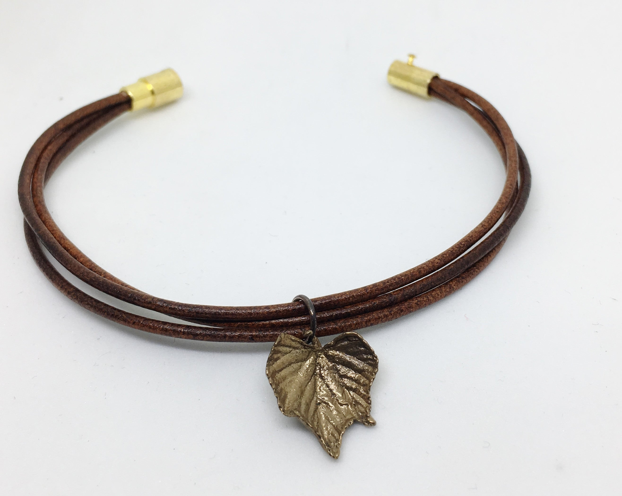 Grape Leaf Leather Bangle