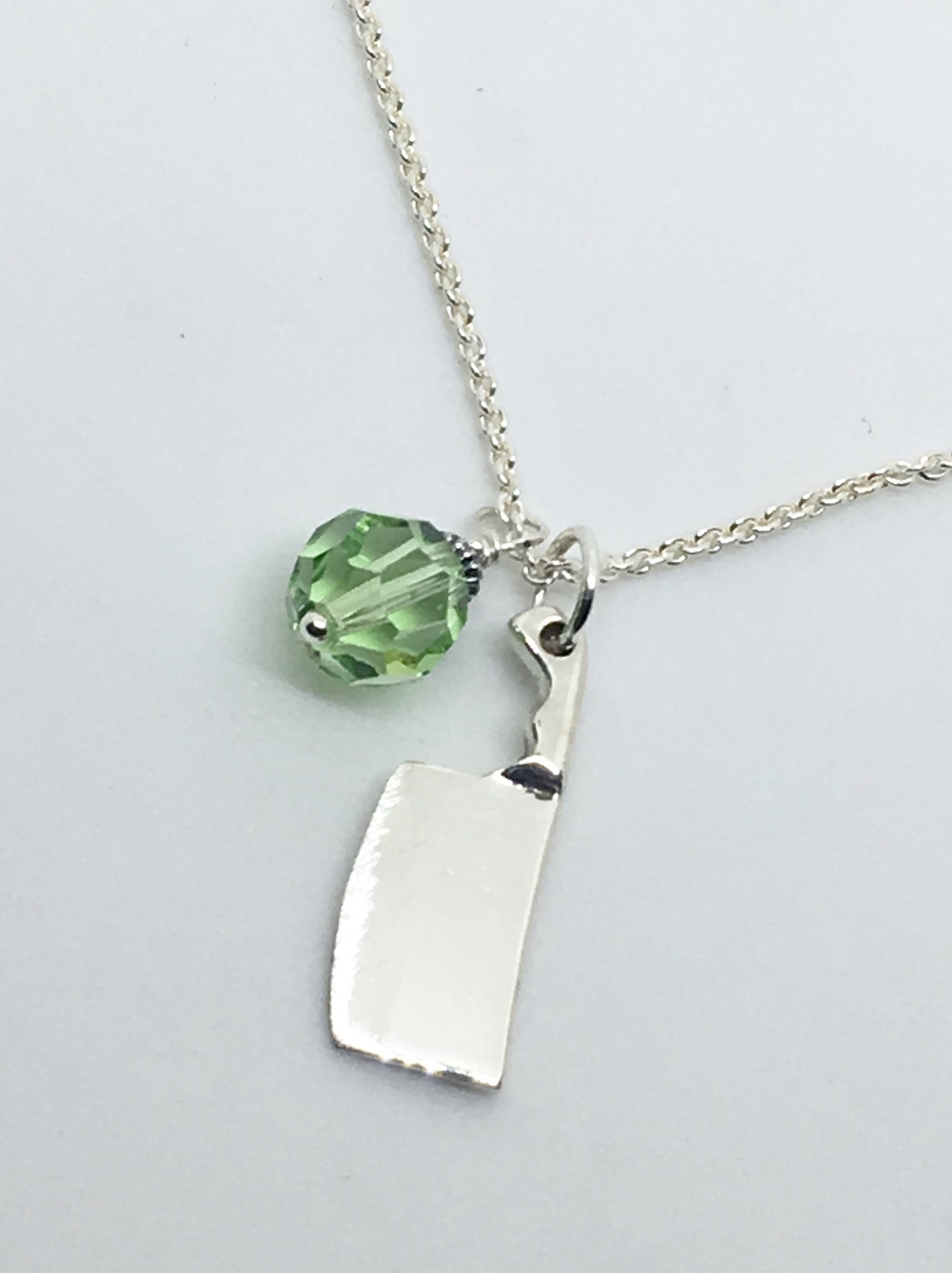 Chef's Cleaver Knife Pendant Necklace with Green Swarovski Crystal Charm