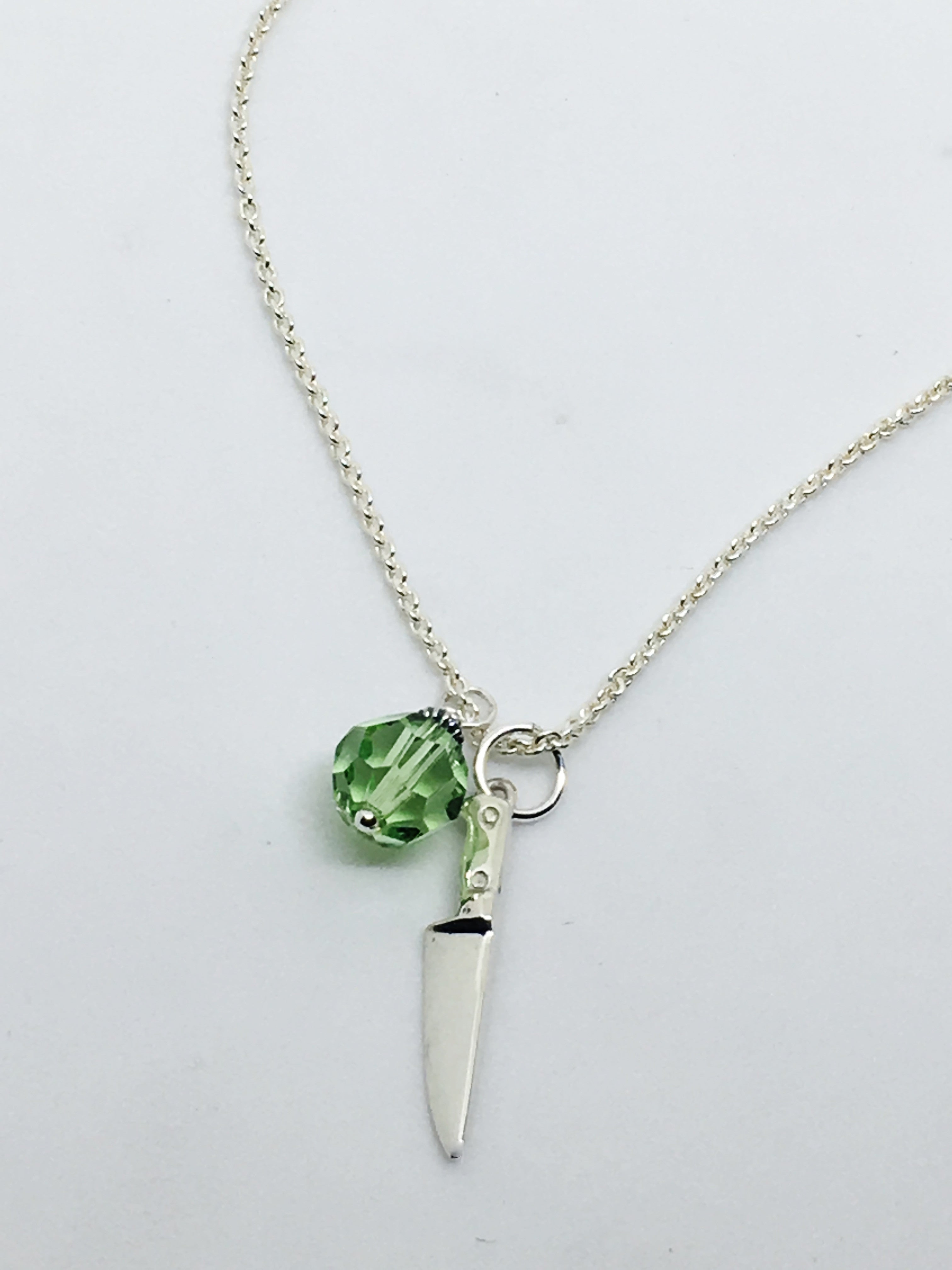 Chef's Knife Pendant Necklace with Green Swarovski Crystal Charm