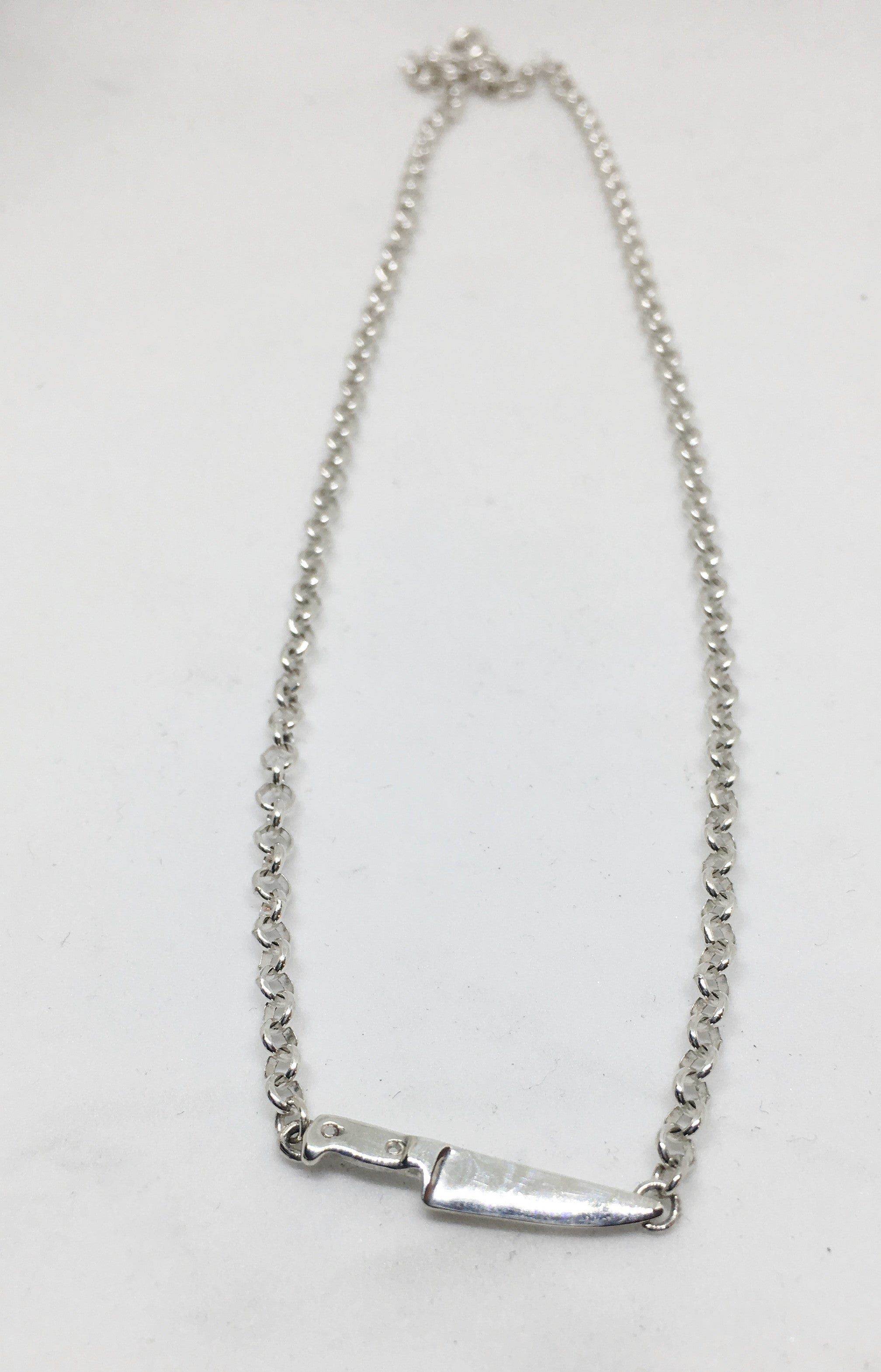 Chef Knife Chain Necklace in Sterling Silver
