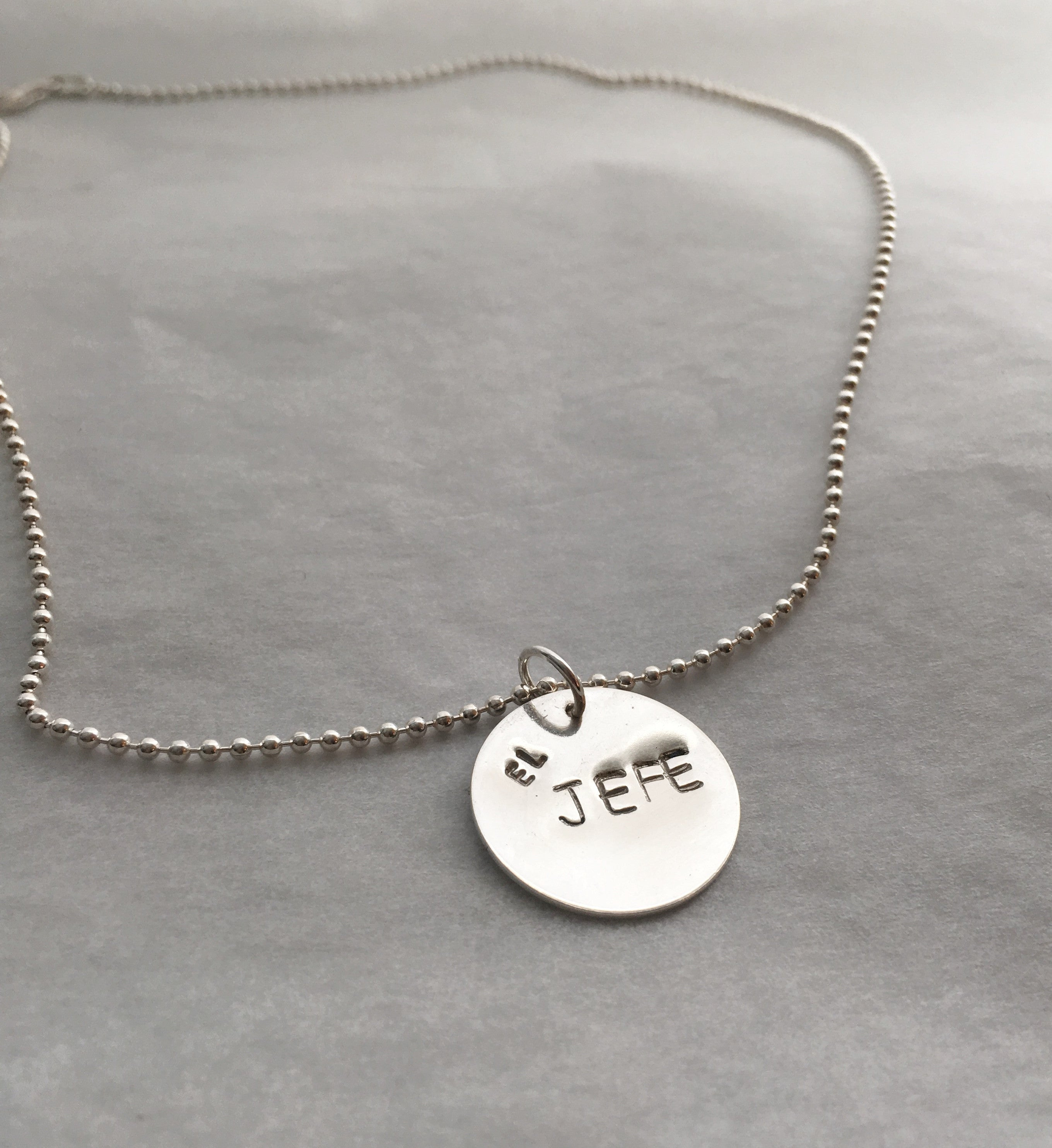 Handstamped El Jefe Pendant Necklace with Bead Chain