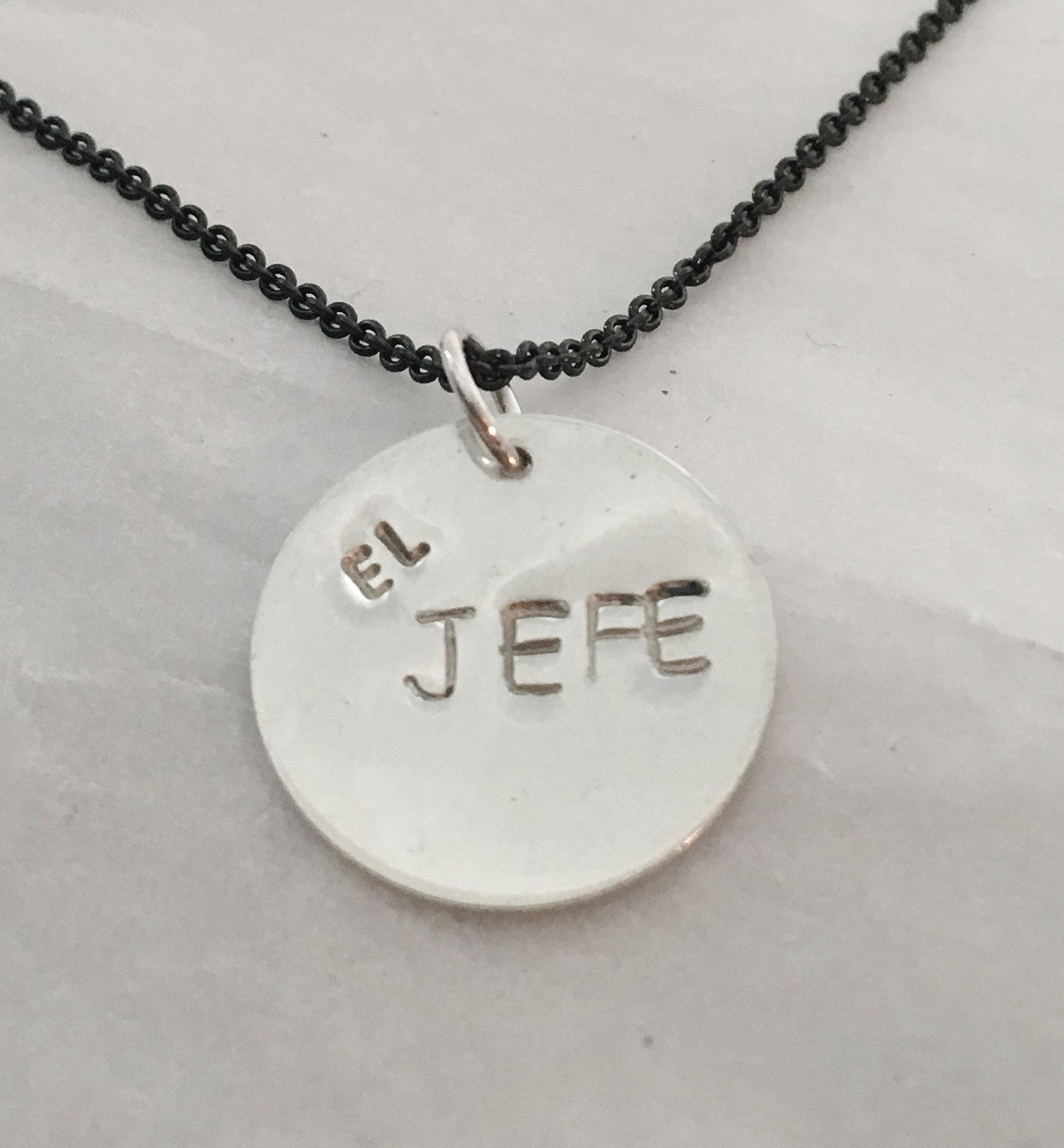 Handstamped El Jefe Pendant Necklace