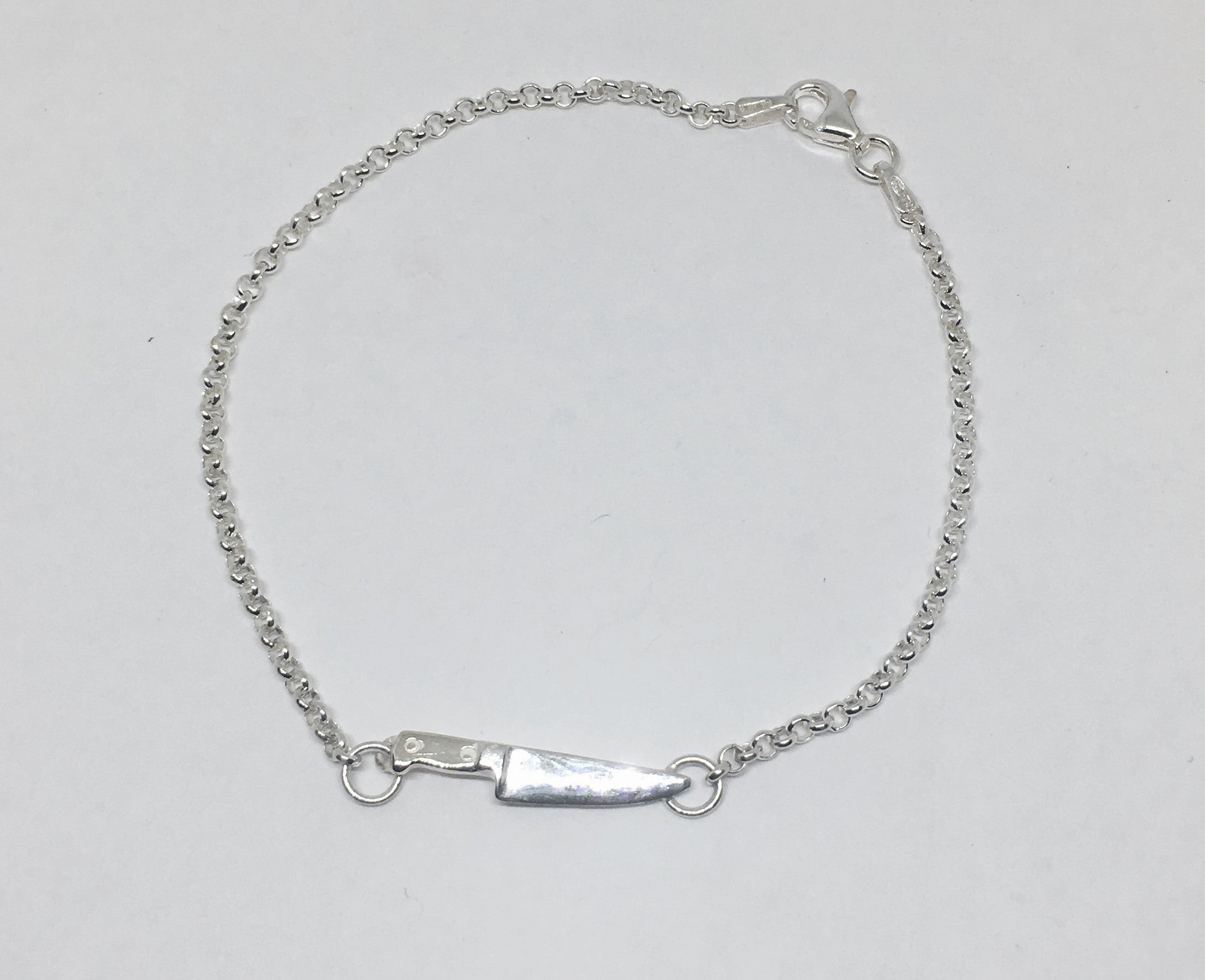 Sterling Silver Chef Knife Chain Bracelet