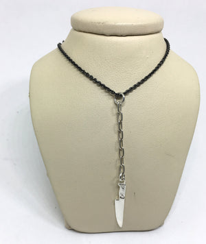 Black Sterling Silver Chef Knife Y Necklace