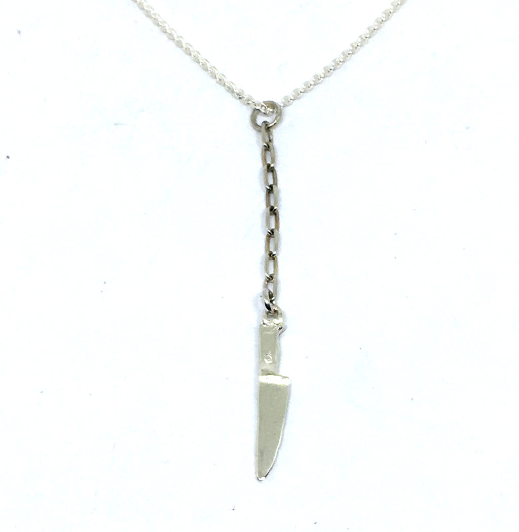 Sterling Silver Chef Knife Y Necklace