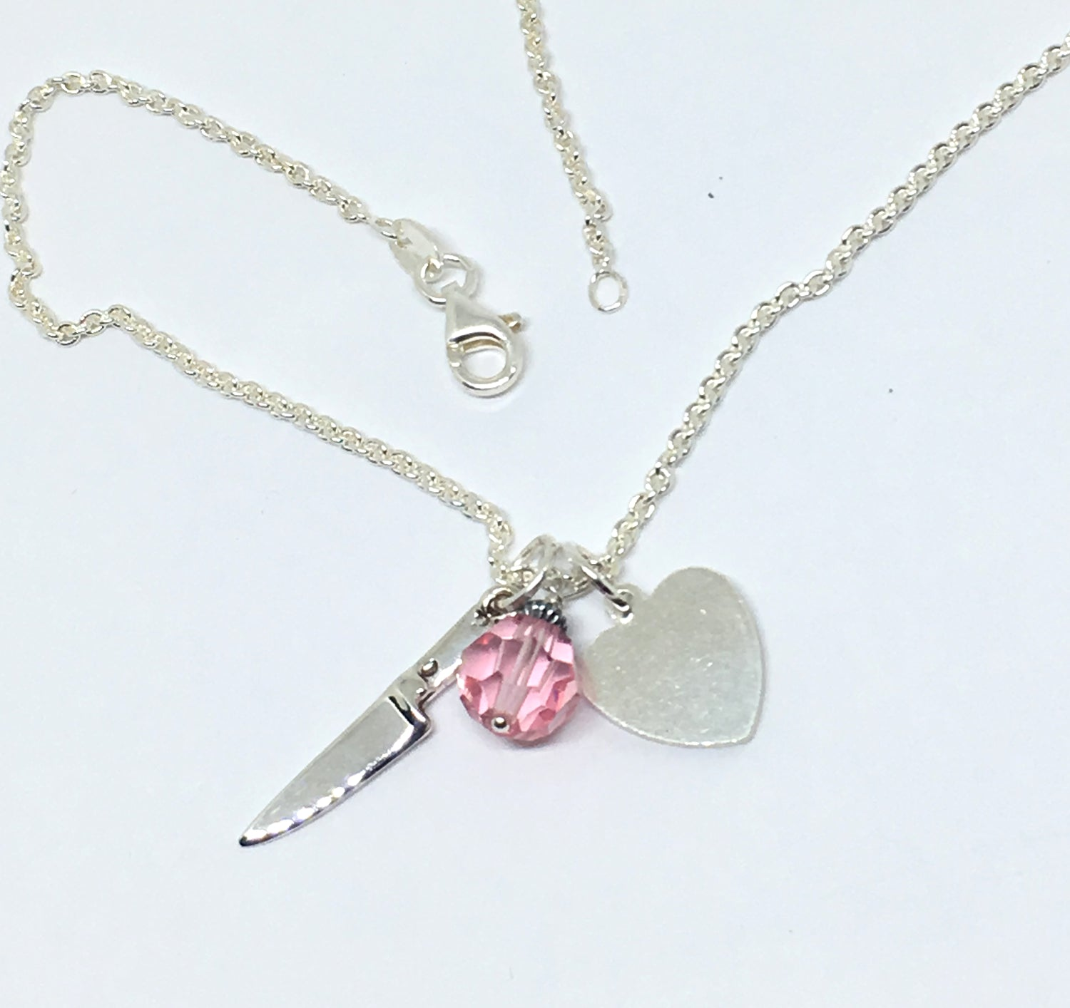 Personalized Chef Knife Cluster Necklace with Initials and Pink Swarovski Crystal