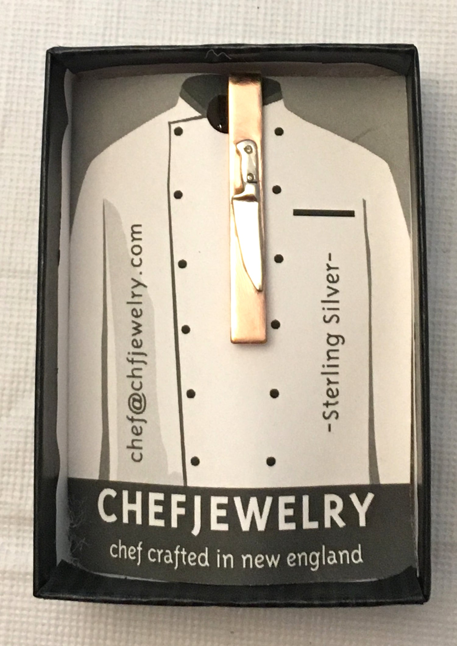 your tie clip will arrive with custom chefjewelry packaging