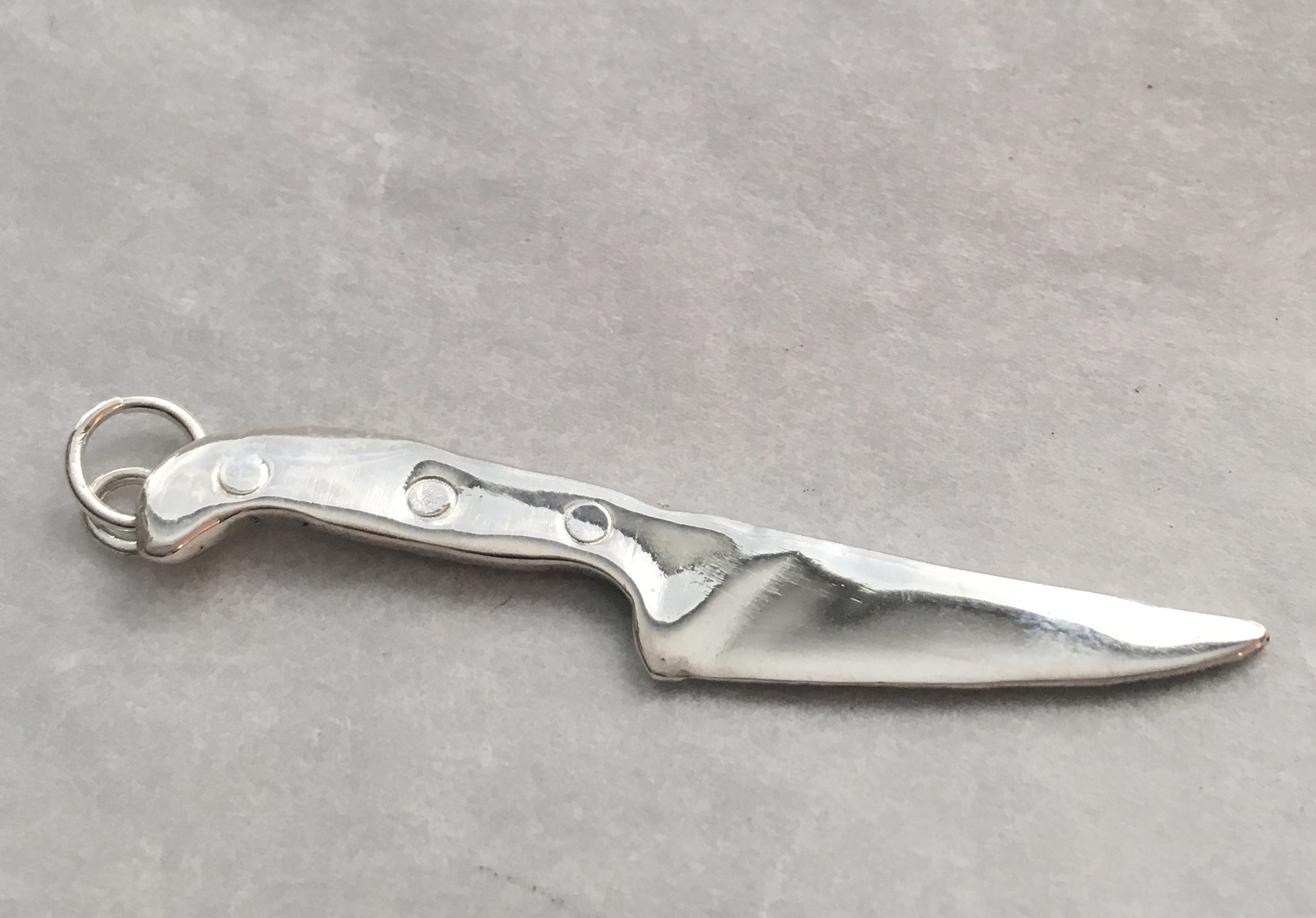 Sterling silver chef knife pendant