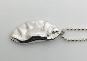 Large Chinese Potsticker Dumpling Charm in Sterling Silver
