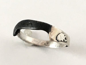 Flaming Chef Knife Ring with Oxidized Handle