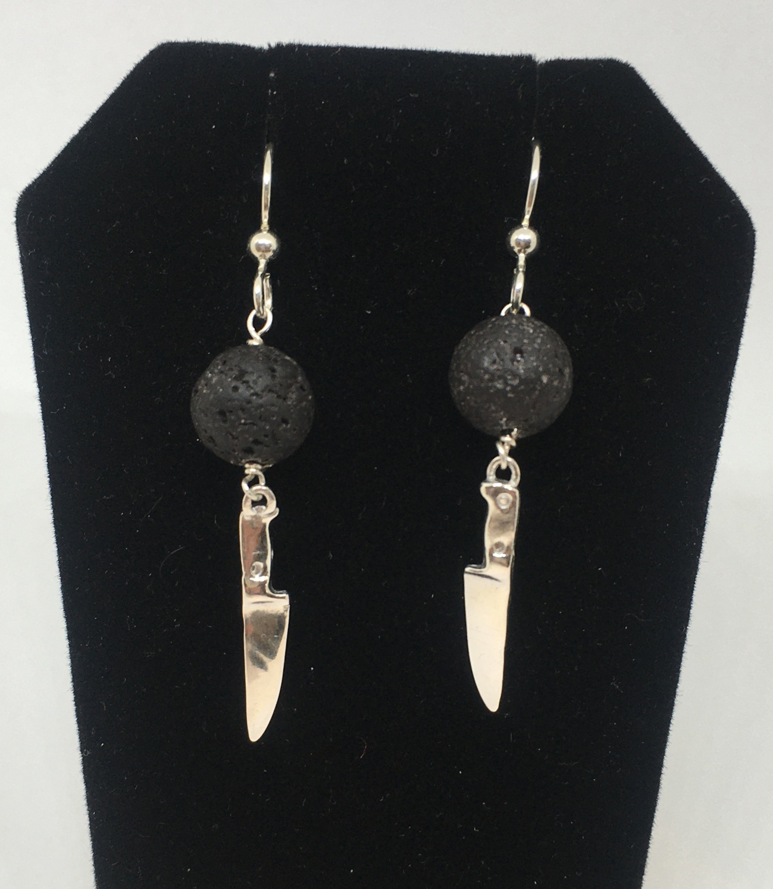 Sterling Silver Chef Knife Earrings with Lava