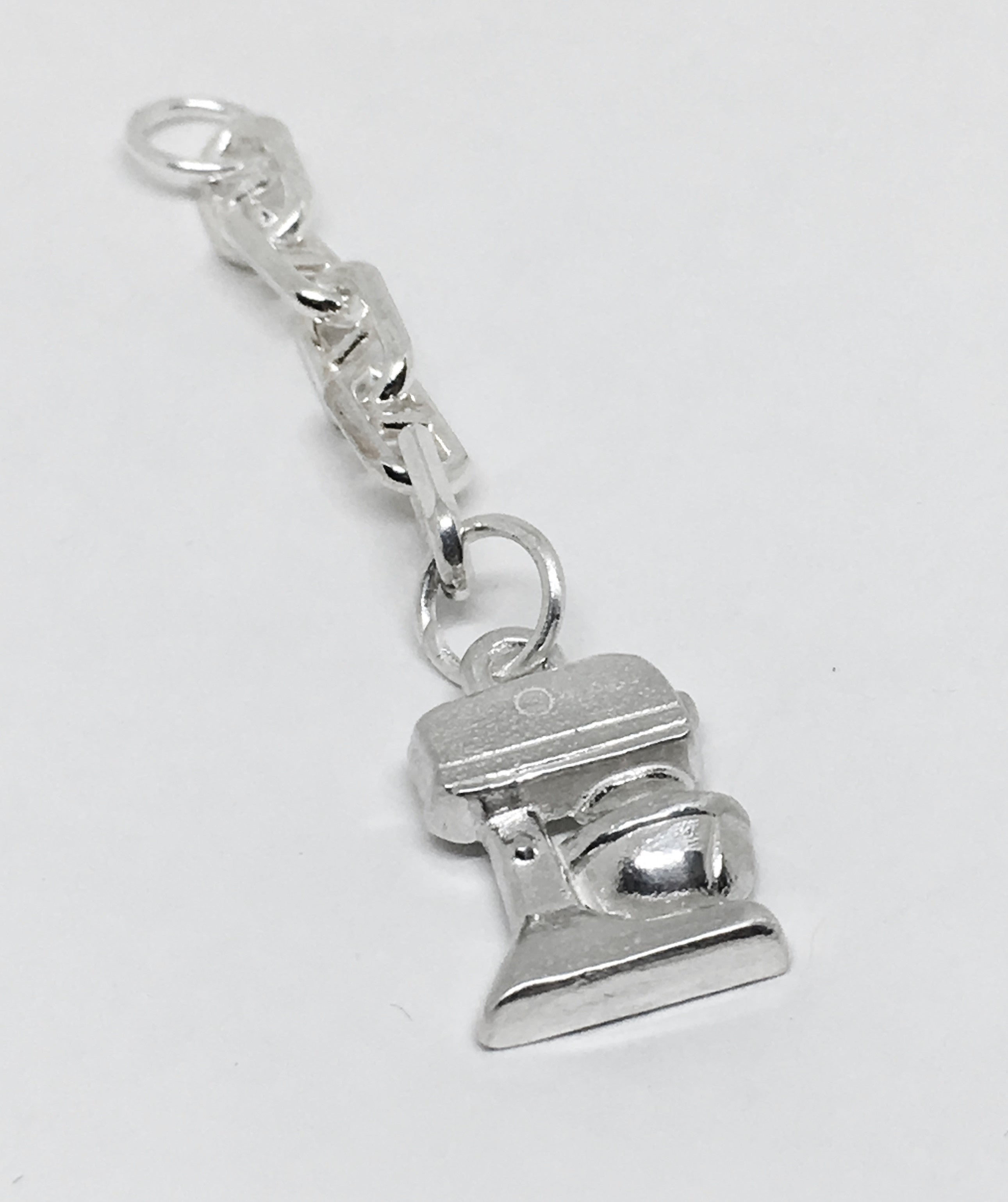 Baker's Standing Mixer Key Ring Charm in Sterling Silver