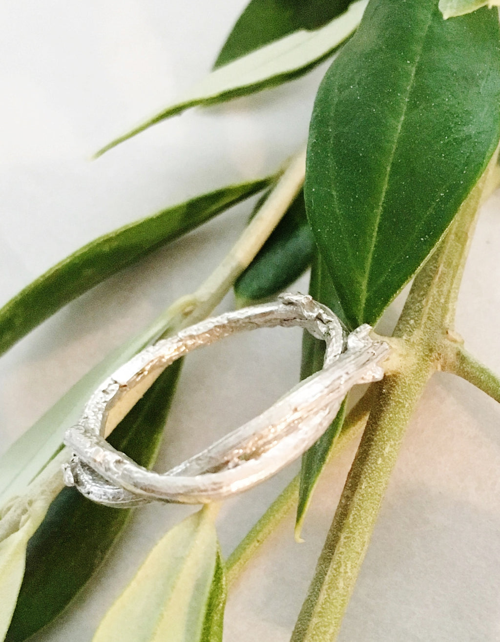 Olive twig ring in sterling silver