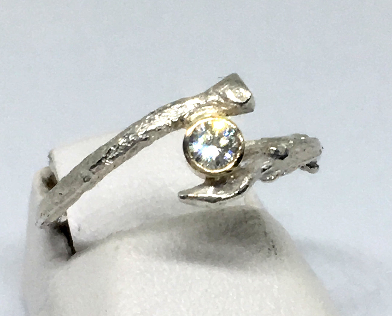 Realistic olive twig diamond ring in sterling silver and 14K gold
