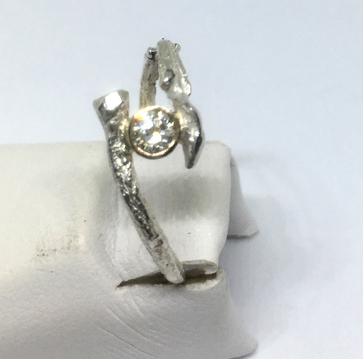 Olive Twig and Diamond Ring in Sterling Silver and 14K Gold