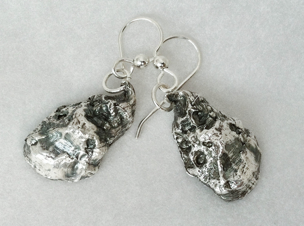 Sterling Silver Oyster Shell Earrings