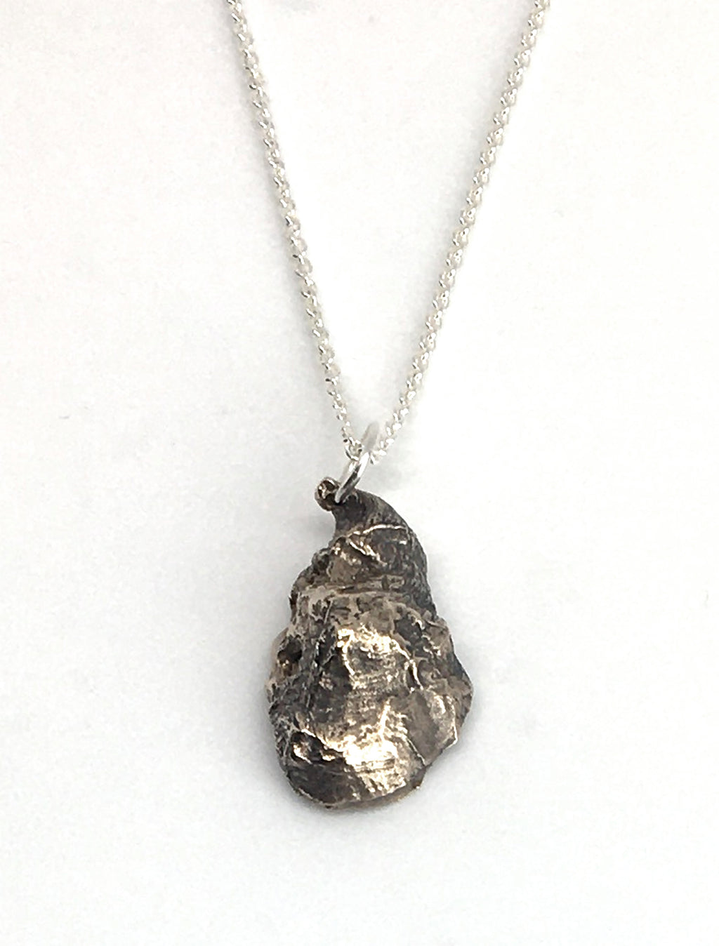 sterling silver oyster shell pendant necklace on sterling silver cable chain