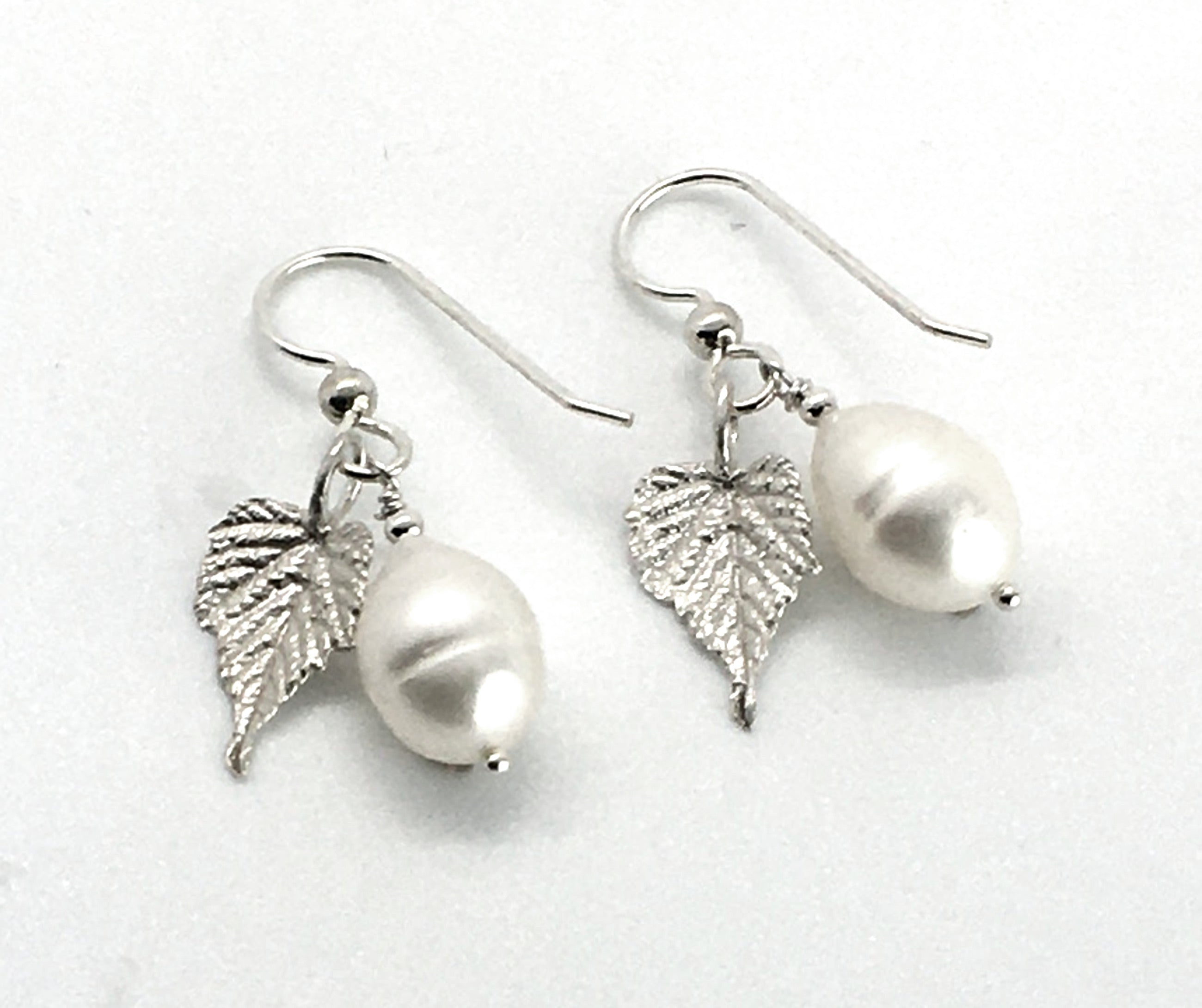 Pearl Earrings with Sterling Silver Grape Leaves
