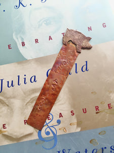 Handstamped Copper Pig Bookmark  - Cook Eat Laugh