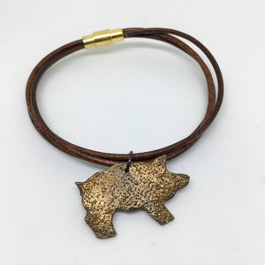 Leather Bangle with Pig Charm