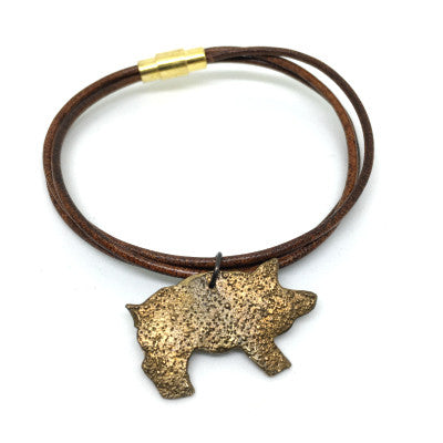 Leather Bangle with Bronze Pig Charm