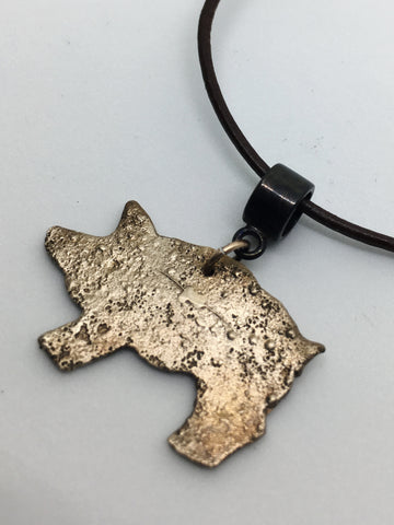 Pig Pendant Necklace on Leather Cord