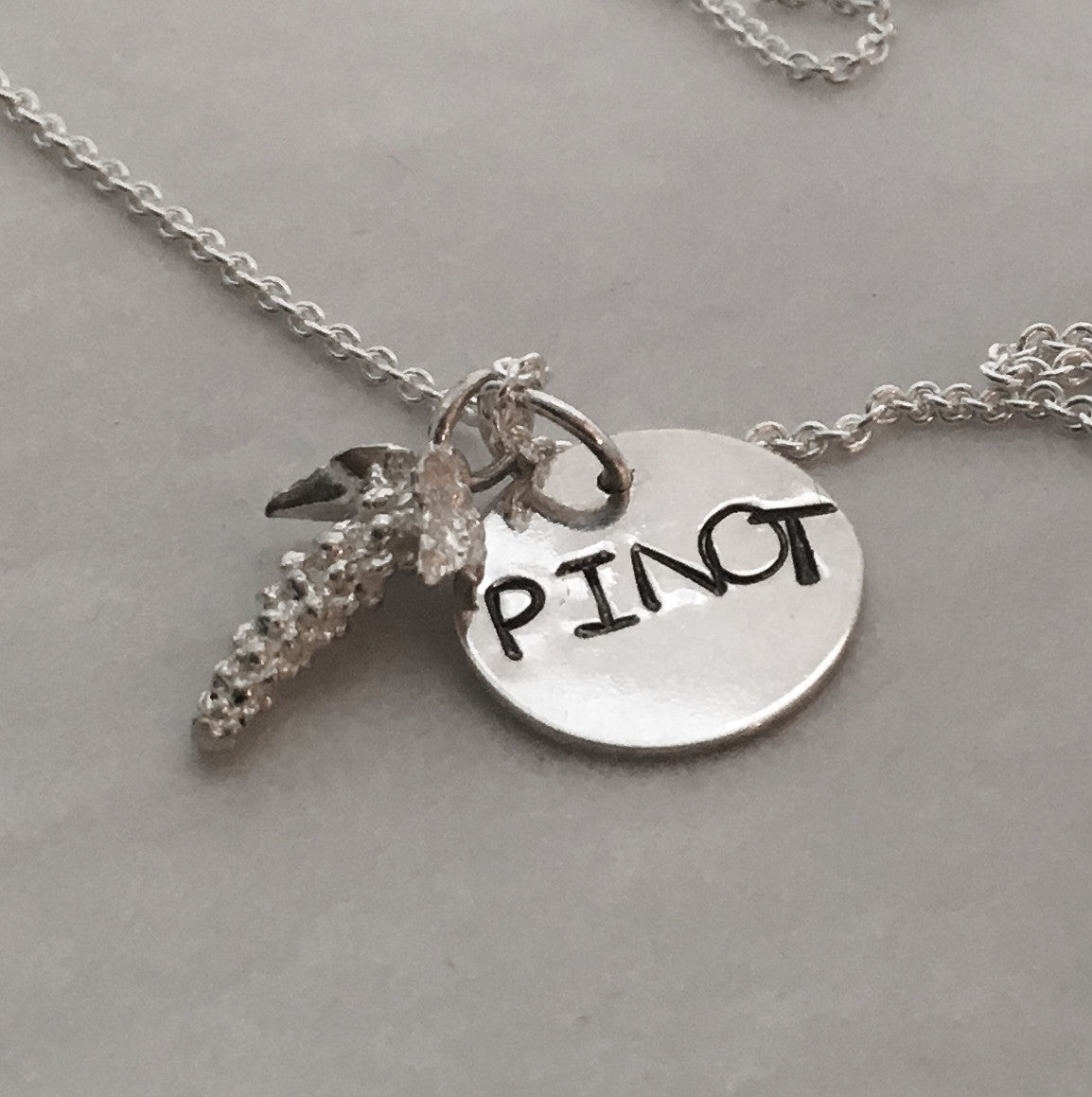 Hand Stamped Pinot Red Wine Charm in Sterling Silver