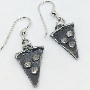 sterling silver pizza earrings