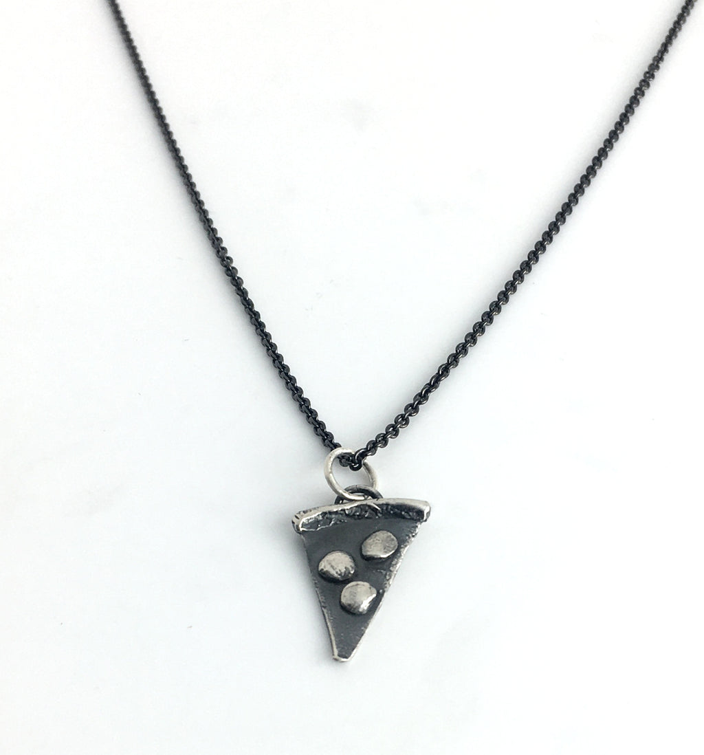 sterling silver pizza charm necklace on black silver chain