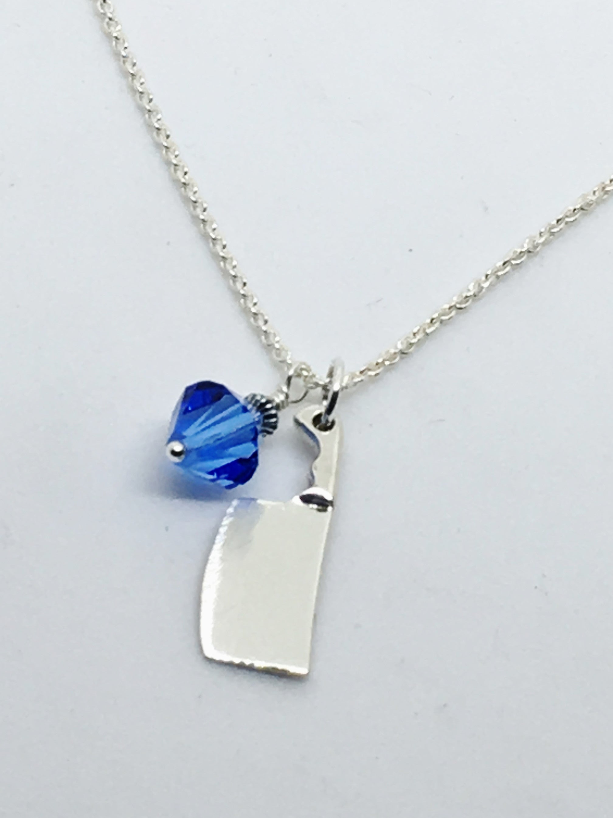 Chef's Cleaver Pendant Necklace with Blue Swarovski Crystal Charm