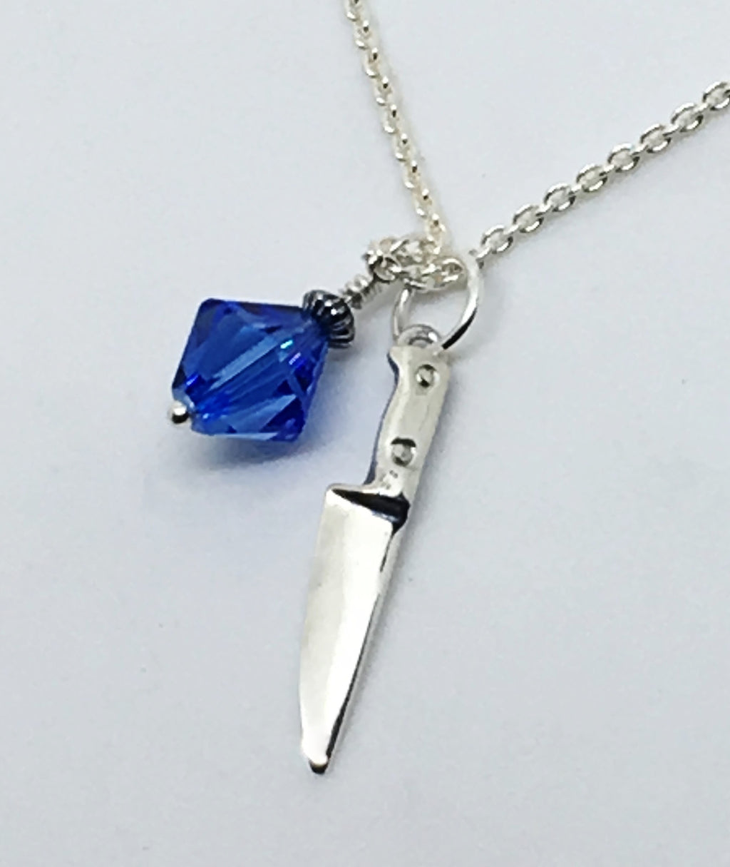 Chef Knife Necklace with Swarovski Blue Crystal Dangle
