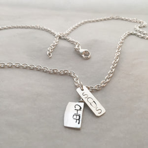 Personalized Sous Chef Knife and Dog Tag Pendant Necklace