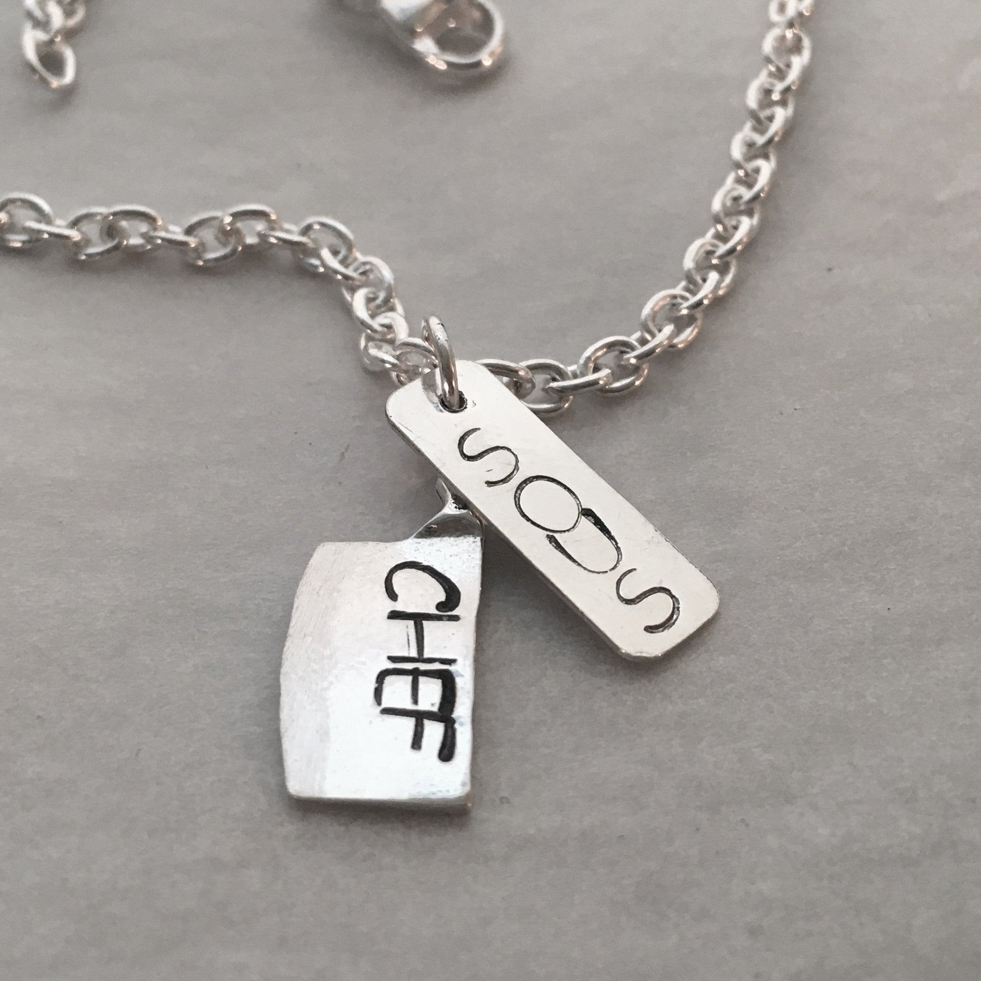 Man's Hand Stamped Sous Chef Knife and Dog Tag Pendant Necklace